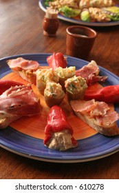 Tapas filled peppers and smoked ham
