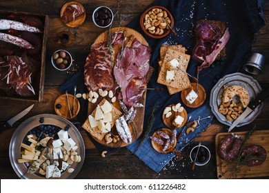 Tapas selection. Spanish cured meat, hamon, lomo, chorizo, salchichon. Charcuterie concept. Top view.
