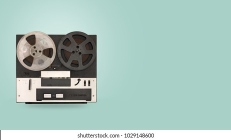Tape cassette recorder and player with on color background. retro technology. flat lay, top view hero header. vintage color styles.