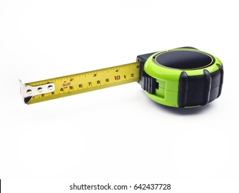 Tape measure; retractable steel tape measure isolated on white ground