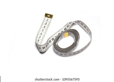 Tape measure tailor on white background