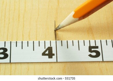 Tape measure and wood