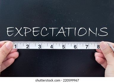 Tape measuring expectations on a chalk board