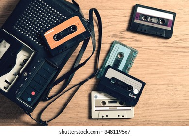 tape recorder with music cassettes, vintage
