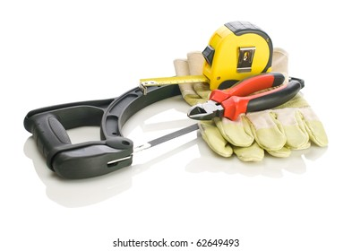 tapeline pliers gloves on hacksaw