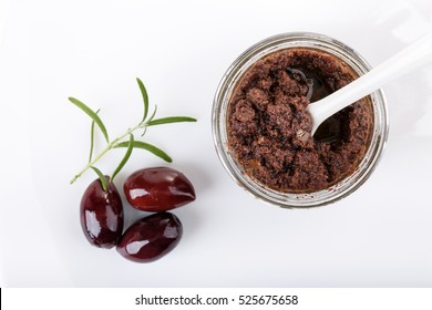 Tapenade - olive paste made from kalamata olives. Top view.