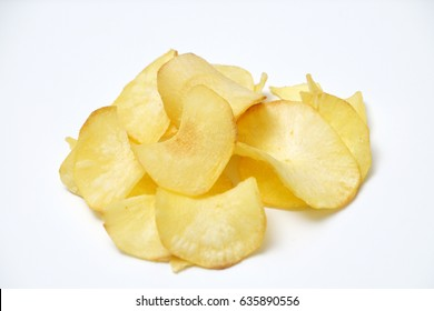Tapioca chips on isolated white background. Selective focus on the chips. This is one of Asian popular snack.
