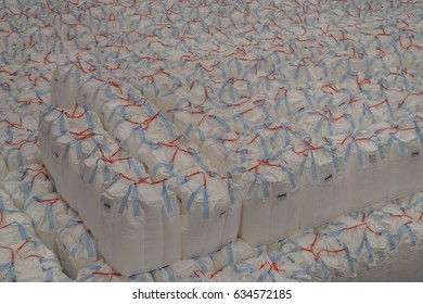 Tapioca starch in jumbo bags storing and handling inside warehouse