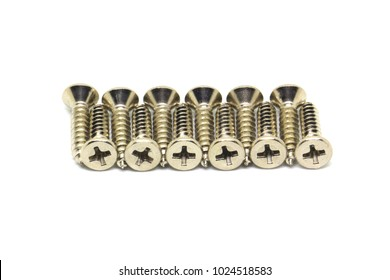tapping screws made od steel, metal screw, iron screw, chrome screw, screws as a background, wood screw with isolated white background
