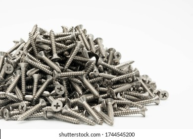 tapping screws made od steel, metal screw, iron screw, chrome screw, screws as a background, wood screw,on white background