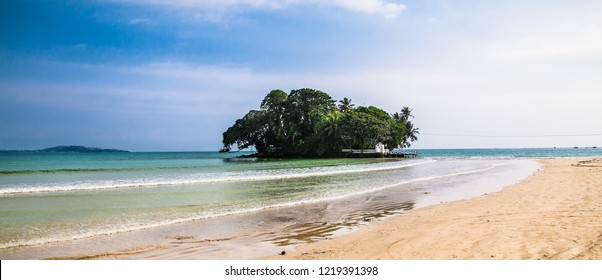 Taprobane island is famous for its luxury mansion offering tourists accommodation with an address in the Indian Ocean in  Weligama, Sri Lanka.