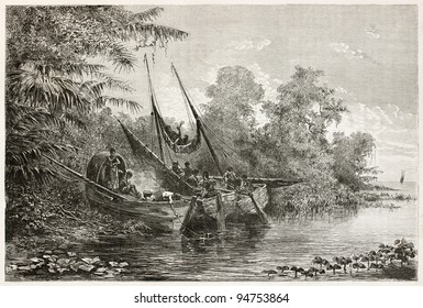Tapuyas natives waiting high tide in Amazon river. Created by Riou, published on Le Tour du Monde, Paris, 1867