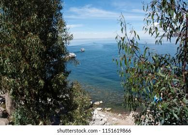 Taquile island, Titicaca lake Per . Panoramic view.
