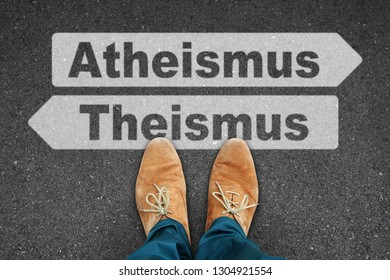 tar road from above with slipper, atheism, theism