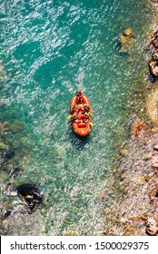 Tara, Montenegro - July 21, 2019. Aerial view on rafting in National park Durmitor