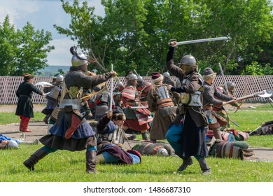 Tara, Omsk region, Russia, July 27, 2019. Demonstration of the conquest of the Siberian Khanate by Russian Cossacks. Holiday of the city of Tara.