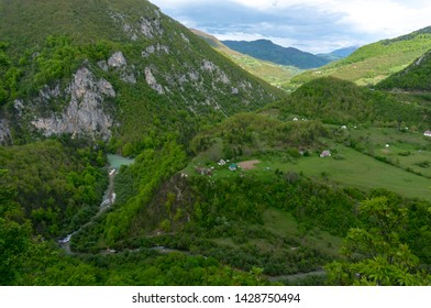 Tara river canyon. Most popular place for visit is the Durdevica bridge. Jurjevich Bridge in Zabljak, Montenegro