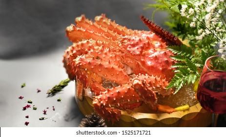 Taraba crab or Red King Crab Japanese food, selective focus.