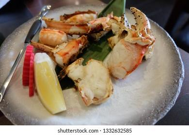 Taraba Kani Yaki or Grilled Japanese Giant Crab Leg on the dish.
