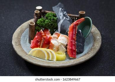 Taraba yaki grilled Alaska crab on dish Japanese food