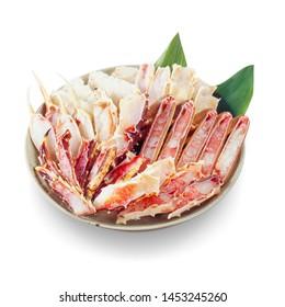 Taraba-gani legs for Japanese hot pot cuisine in white