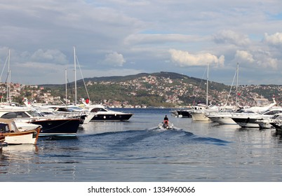 Tarabya Yacht Port at Bosphorus in Istanbul, Turkey.