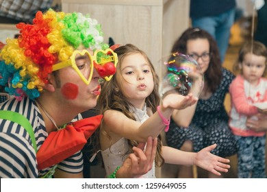 Taraclia, Moldova - 14. 05. 2017: Soap bubbles show clowns at children's party