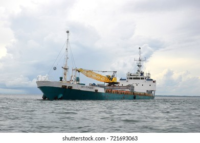 TARAKAN, INDONESIA. 12th February 2017. tanker anchored in sea port Tarakan, Indonesia