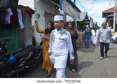 TARAKAN, INDONESIA - 12th October 2017 : Celebration of the Prophet Muhammad's Mawlid at AL Muhajirin Moswue Tarakan City