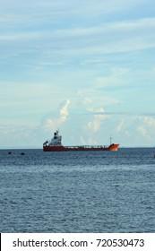 TARAKAN, INDONESIA. 15th June 2016. tanker anchored in sea port Tarakan, Indonesia