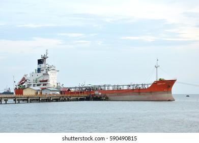 TARAKAN, INDONESIA. 17th June 2016. tanker anchored in sea port Tarakan, Indonesia