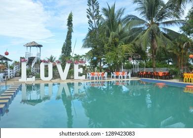 TARAKAN, INDONESIA. 22th FEBRUARY 2017 : Birthday decoration at the pool