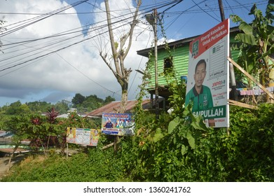 TARAKAN, INDONESIA. 5 April 2019, poster of candidates for the legislature in a number of main shaft roads and urban vertices ahead of the elections held on 17 April