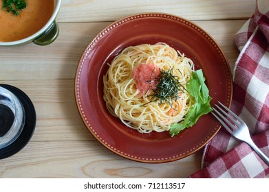 Tarako Spaghetti is a pasta dish made with cooked spaghetti and salted cod roes.