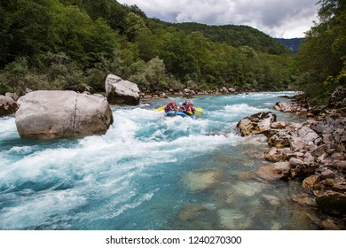 Tara,Montenegro - 23 August 2018 -Rafting team splashing the waves,White water rafting