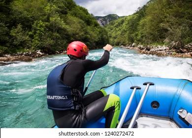 Tara,Montenegro - 25 August 2018 - White water rafting on amazing river