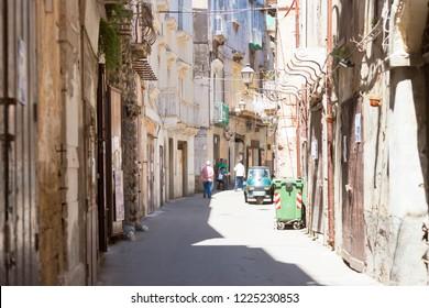 Taranto, Apulia, Italy - MAY 31, 2017 - Native people in the streets of Taranto in Italy