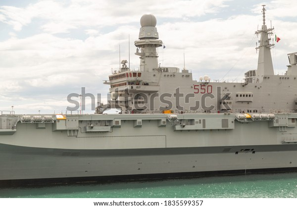 Taranto, Bari Puglia/ Italia - 2 September 2014: detail of a military ship with decks with guns and radars and radio antennas