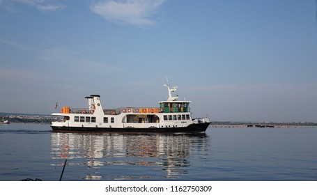 Taranto, Italy - August 22, 2018: Adria motor ship connecting Taranto with the Cheradi Islands of San Pietro and San Paolo