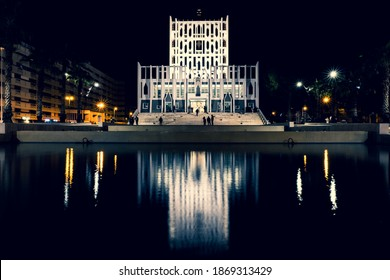 """Taranto, Italy - December 7, 2020: celebration of the 50th anniversary of the famous religious architectural work of Gio Ponti famous Milanese Designer and International Architect, """"La Concattedrale""""."""