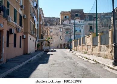 Taranto, Italy - September 06, 2020 : View of a street in Taranto Vecchia