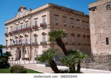 Taranto, Italy - September 06, 2020 : View of Taranto city hall