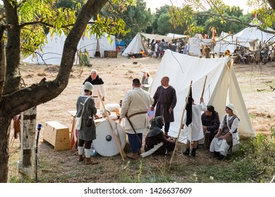 Taranto, Italy-June 15, 2019: Historical re-enactment of the battle of the 11th century between Normans and Byzantines, encampment and reconstructed setting in detail.