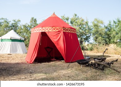 Taranto, Italy-June 15, 2019: Historical re-enactment of the 11th century battle between Normans and Byzantines, tents set up in the medieval village.