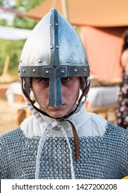 Taranto, Italy-June 15, 2019: Historical re-enactment of the 11th century battle between Normans and Byzantines in southern Italy-portraits of medieval costumed soldiers.
