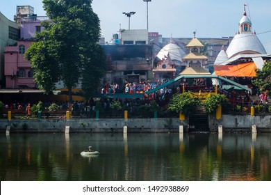 Tarapith, West Bengal/INDIA - August 30 2019: An Indian or asian famous Hindu temple view with crowd of people during a festival called Kaushiki Amavasya  in Bengali language.