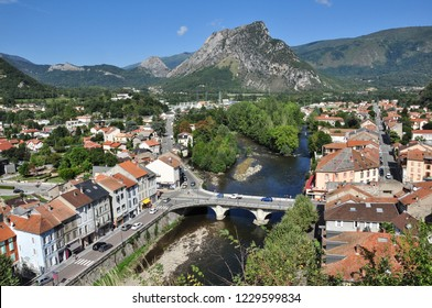 TARASCON, FRANCE - September 8, 2018. Overview of tiver and town, Tarascon-sur-Ariege, Ariege, Occitanie, France