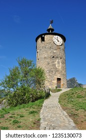 TARASCON, FRANCE - September 8, 2018. Castle Tower, Tarascon-sur-Ariege, Occitanie, France