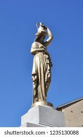 TARASCON, FRANCE - September 8, 2018. Statue, Tarascon-sur-Ariege, Occitanie, France