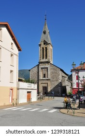 TARASCON, FRANCE - September 8, 2018. Church of Notre Dame de la Daurade, Rue Sainte-Quittorie, Tarascon-sur-Ariege, Ariege, Occitanie, France